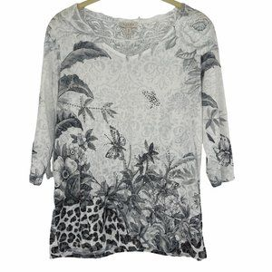 Laura white grey Y2K butterfly rhinestone lace top